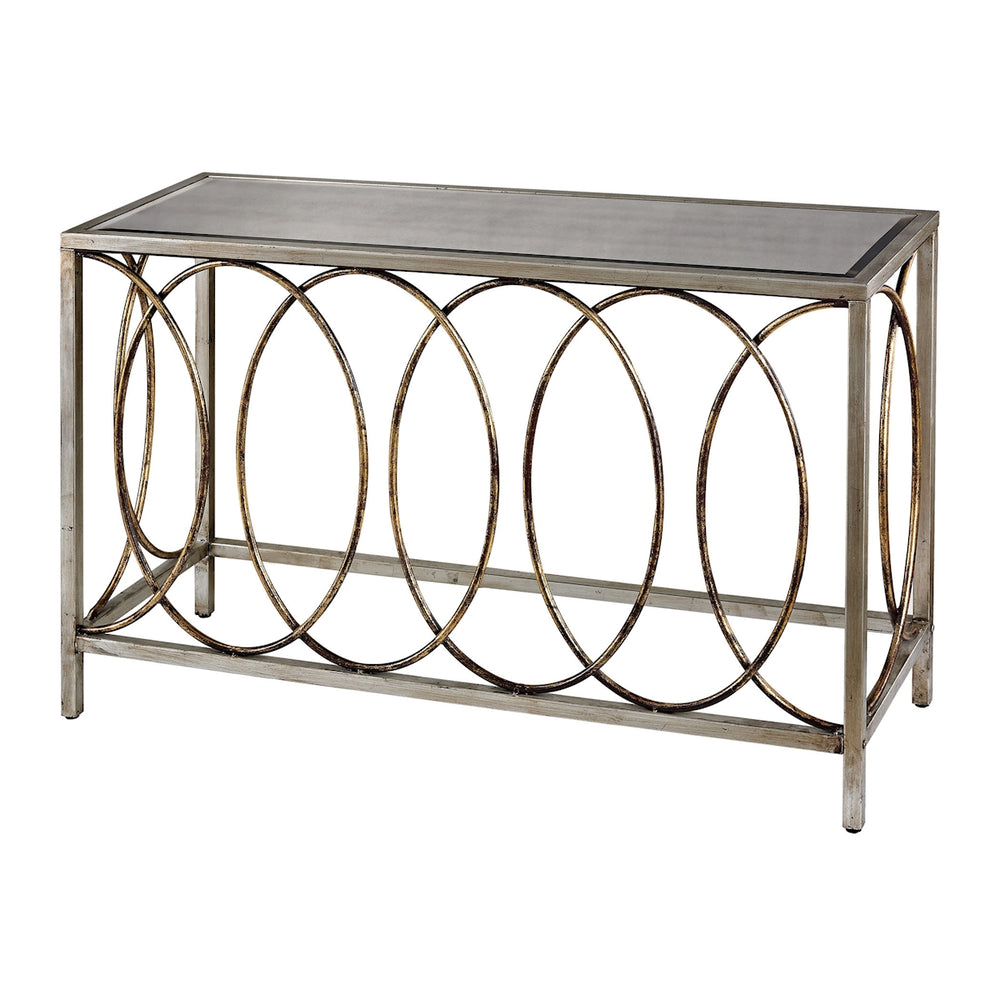 114-96 Rings Console Table With Mirrored Top Bakewell Gold, Silver