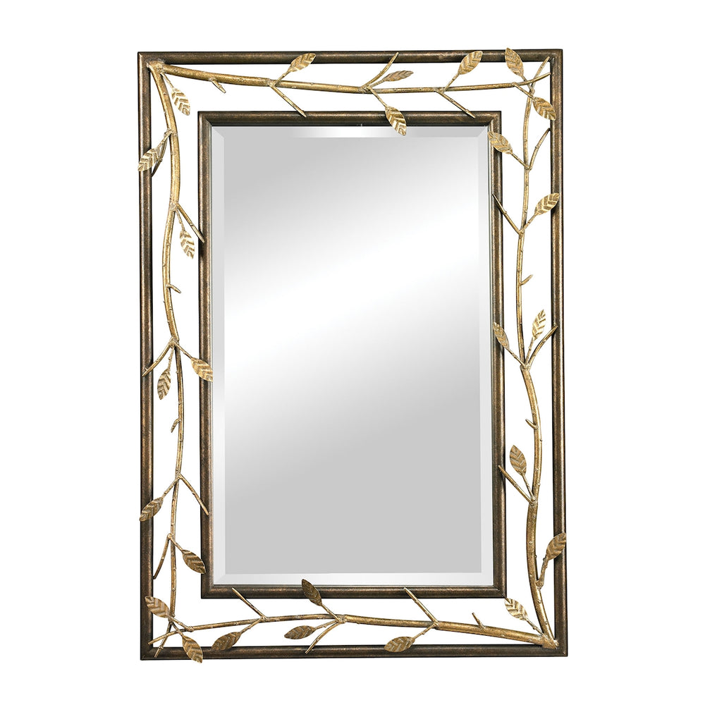 114-99 Gold Leafed Metal Branch Framed Mirror Bakewell Bronze, Gold