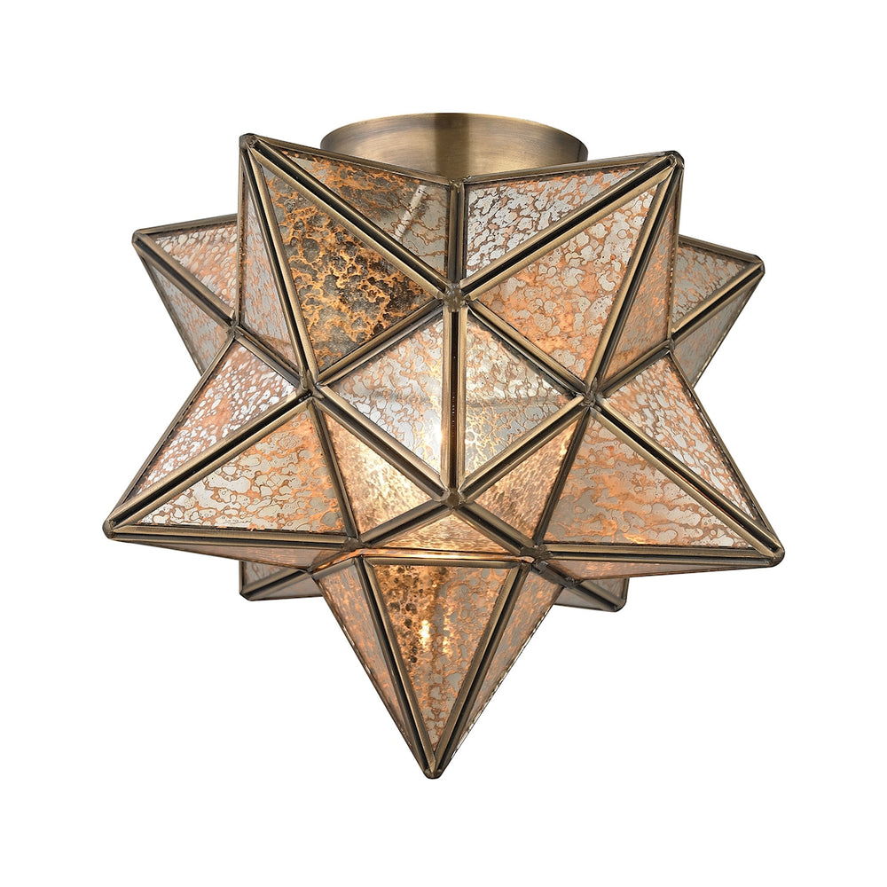 1145-003 Moravian Star Flush Mount - Gold Antique Mercury