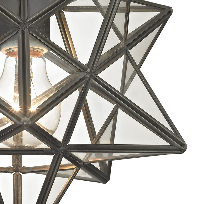 1145-005 Moravian Star Flush Mount - Bronze With Clear Glass Bronze, Clear