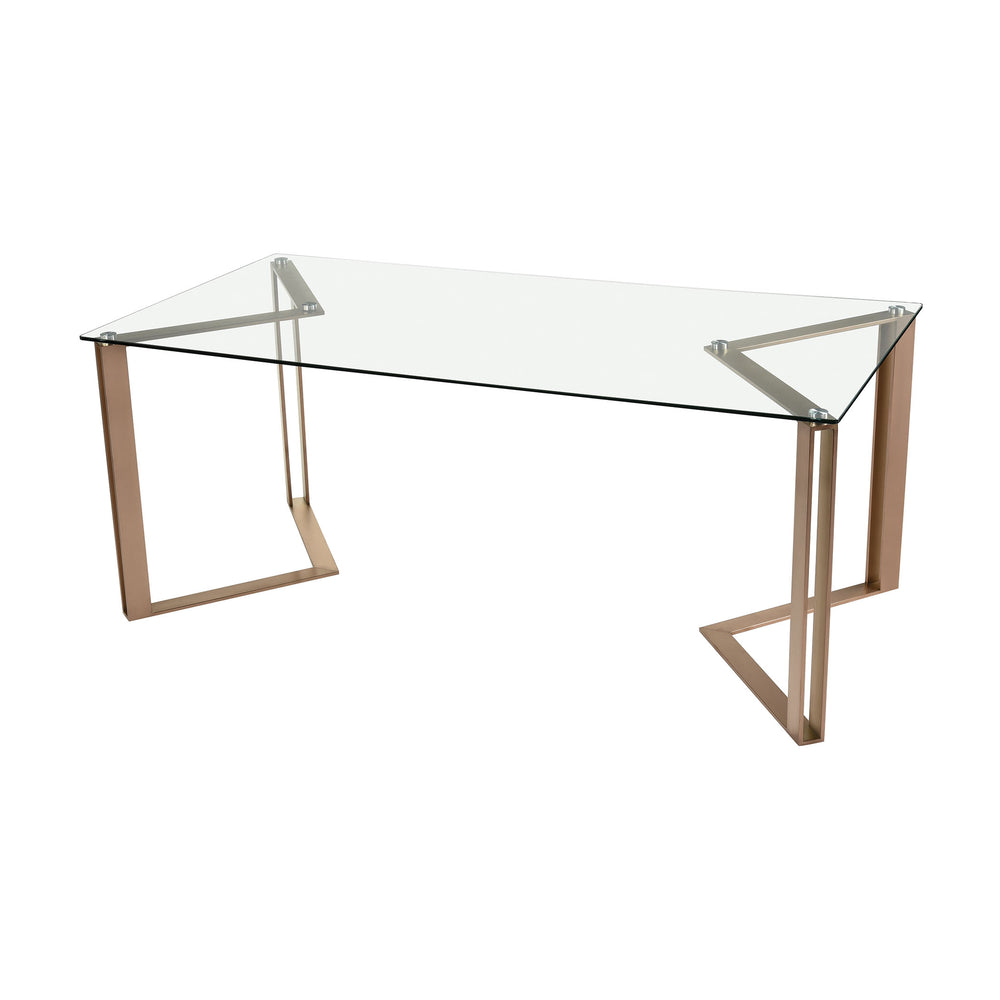 1203-016 Acuity Dining Table Rose Gold, Clear
