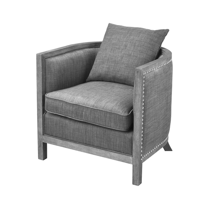1204-060 Cupertino Club Chair Reclaimed Grey Wood, Grey Chenille