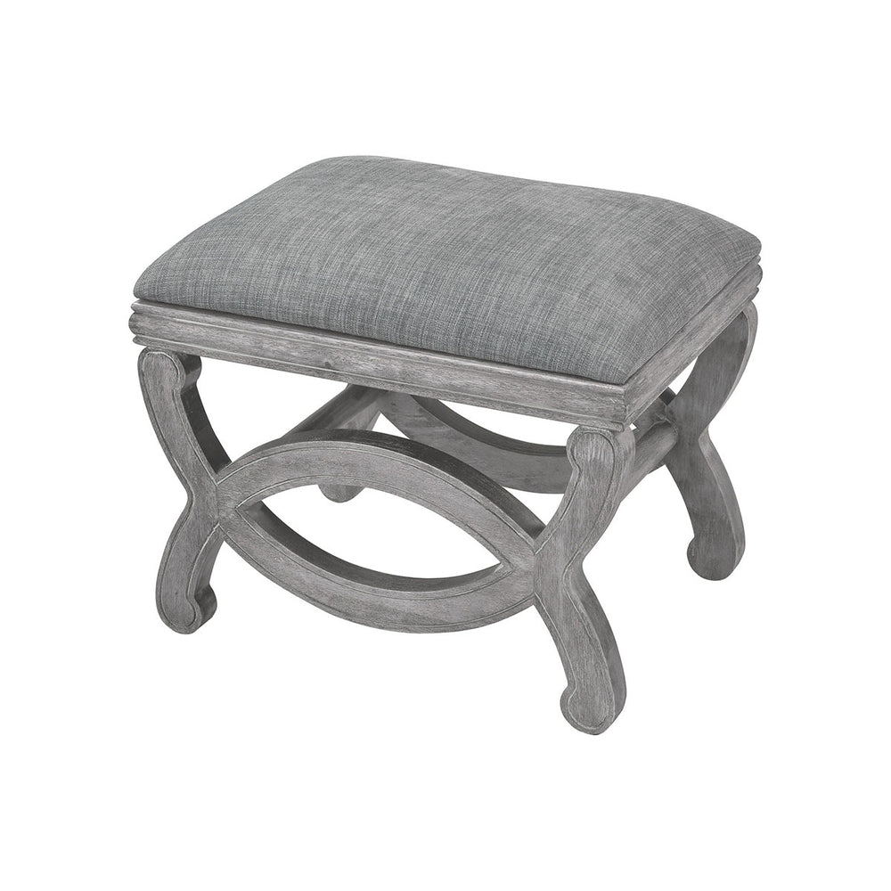 1204-067 Cupertino Single Bench Reclaimed Grey Wood, Grey Chenille