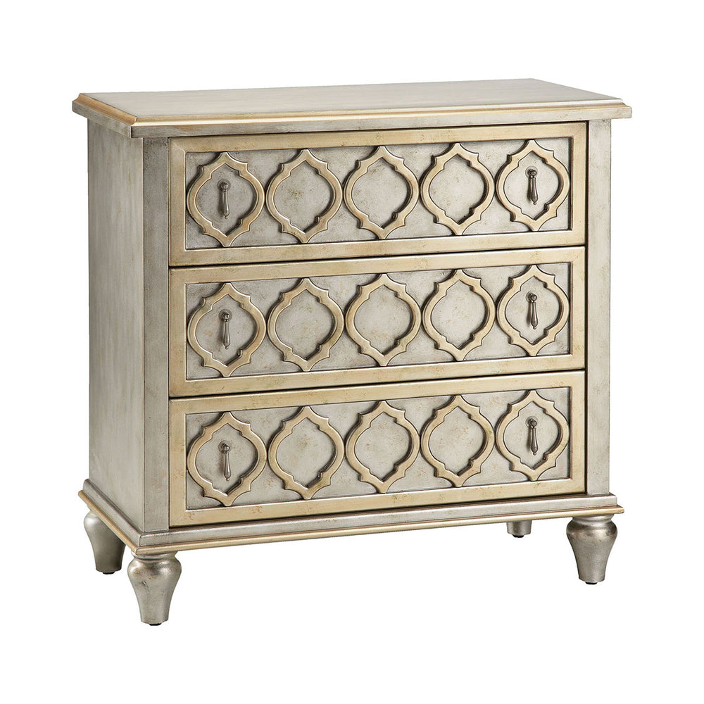 12047 Naomi Chest Champagne, Hand-Painted, Silver