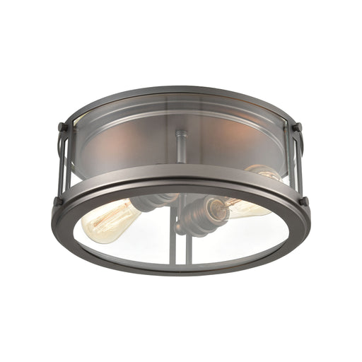 ELK Lighting 12112/2 Flushes 2 Light Flush Mount In Black Nickel With Clear Glass Black Nickel Free Parcel Delivery