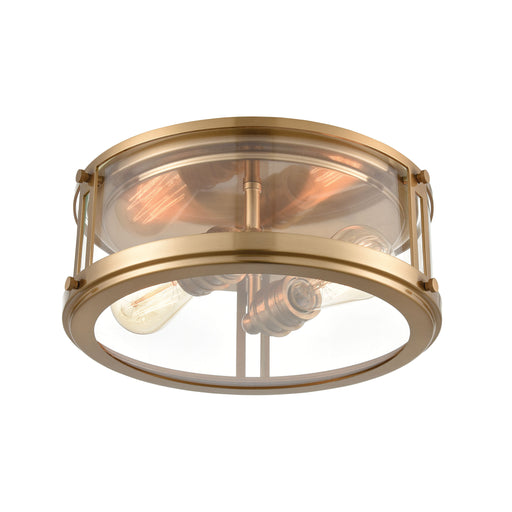 ELK Lighting 12122/2 Flushes 2 Light Flush Mount In Satin Brass With Clear Glass Satin Brass Free Parcel Delivery