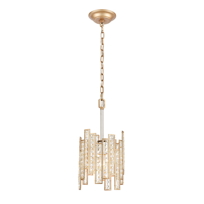 ELK Lighting 12132/1 Equilibrium 1 Light Mini Pendant In Matte Gold With Clear Crystal Matte Gold, Polished Nickel Free Parcel Delivery