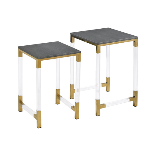 1218-1013/S2 Consulate Nested Tables Acrylic, Gold-Plated Stainless Steel, Grey Faux Leather