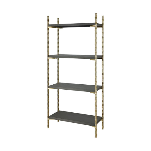 1218-1015 Grand Rex Shelf Grey Faux Leather, Gold Plated Stainless Steel