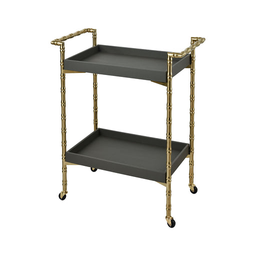 1218-1020 Grand Rex Bar Cart Grey Faux Leather, Gold Plated Stainless Steel