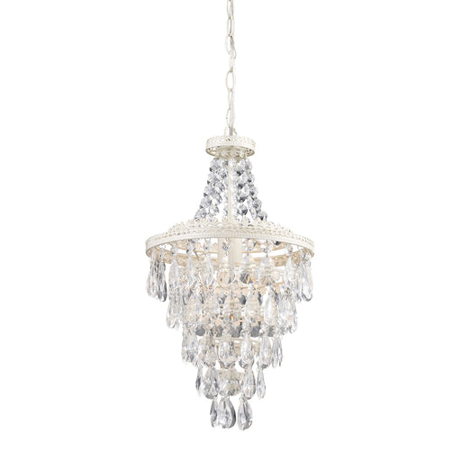 122-002 Clear Crystal Pendant Lamp Antique White, Clear