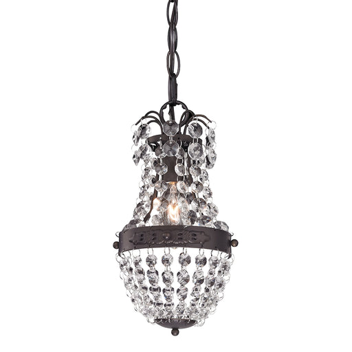 122-016 Clear Crystal Mini Pendant With Bronze Banding Clear Crystal, Dark Bronze