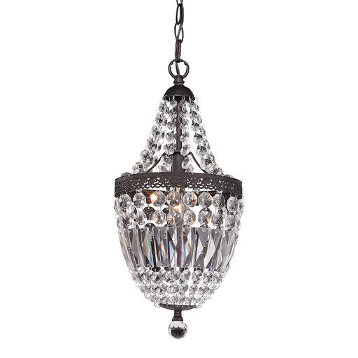 122-026 Mini Chandelier In Dark Bronze And Clear Clear Crystal, Dark Bronze