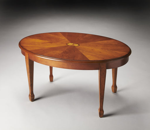 Clayton Olive Ash Burl Oval Coffee Table