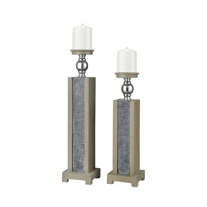 1237-001/S2 Glomma Candle Holder Grey Slate, Polished Concrete, Brushed Steel