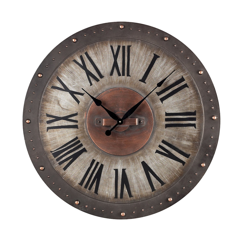 128-1005 Metal Roman Numeral Outdoor Wall Clock Copper Highlight, Jardim Grey
