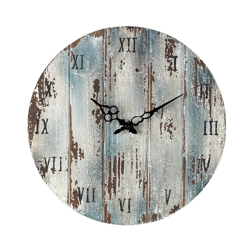 128-1008 Wooden Roman Numeral Outdoor Wall Clock Belos Dark Blue