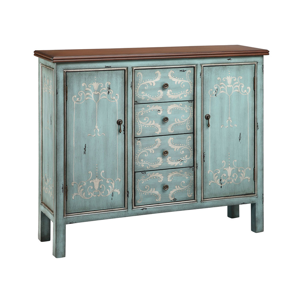 13180 Tabitha Cabinet Blue, Grey, Hand-Painted