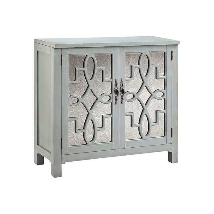 13375 Laden Cabinet In Slate Grey Antique Mirror, Grey, Hand-Painted