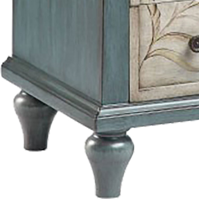 13399 Heron Chest Blue, Cream, Hand-Painted