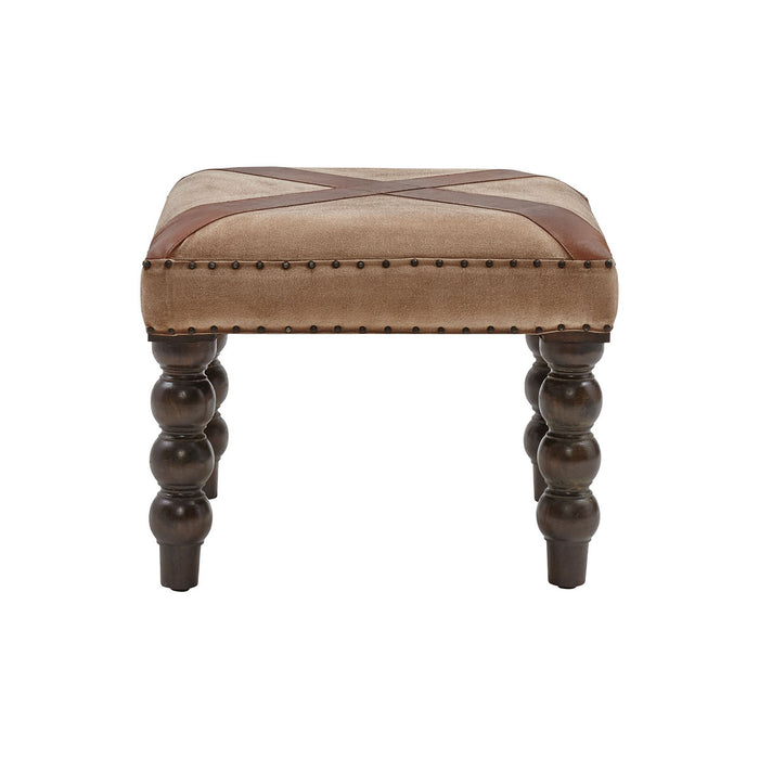 13642 Tilson Bench In Tan Suede Cloth Brown, Dark Brown, Nail Head
