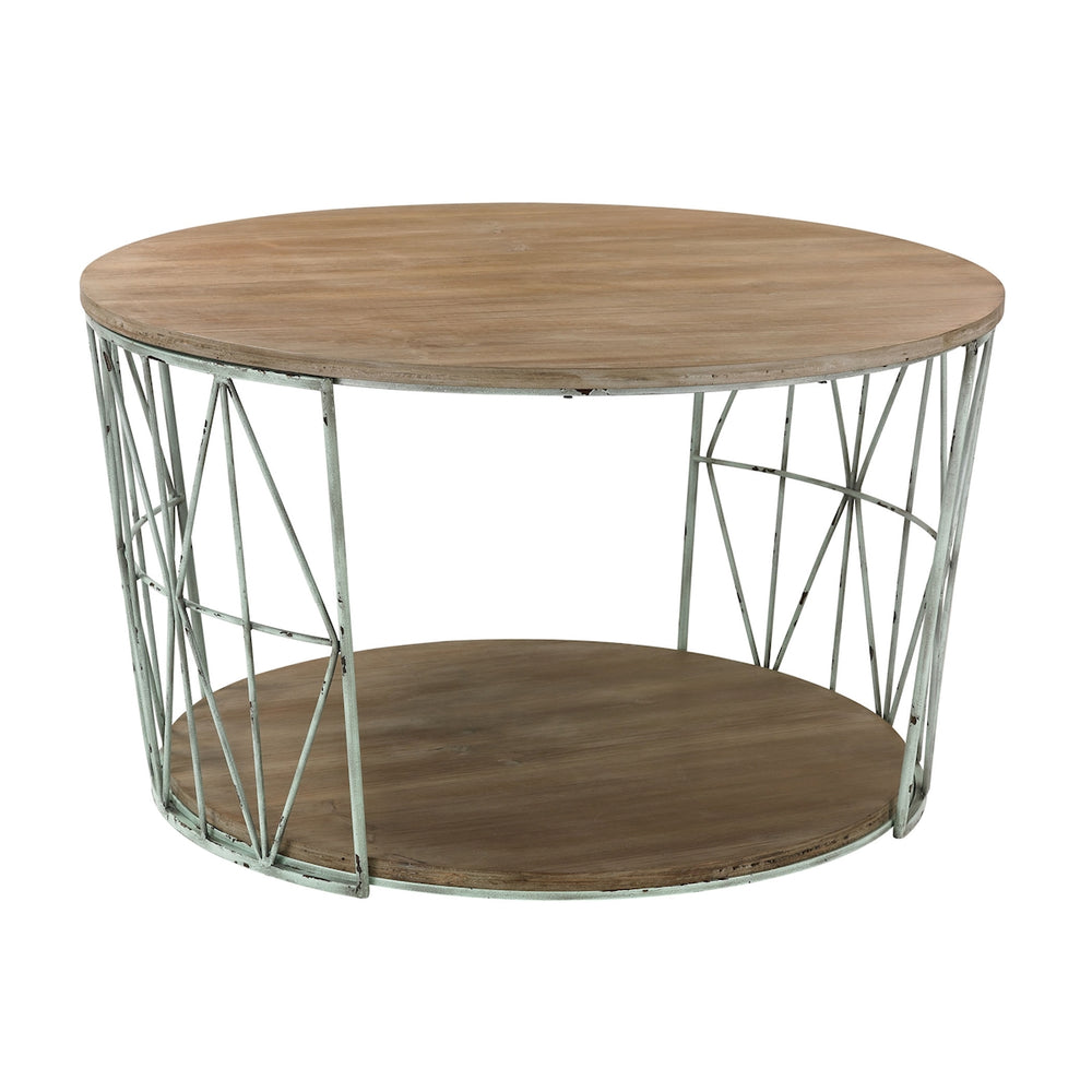 138-167 Round, Wood And Metal Coffee Table Grey, Natural Oak