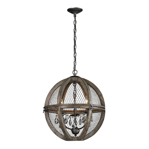 Dimond Home Renaissance Invention Wood And Wire Chandelier - Small  140-007  Aged Wood