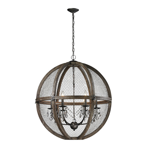 140-008 Large Renaissance Invention Wood And Wire Chandelier Aged Wood, Bronze, Clear Crystal