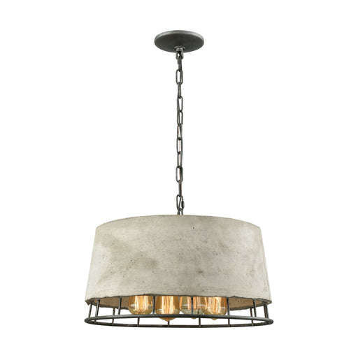 ELK Lighting 14319/4 Brocca 4 Light Chandelier In Silver Dust Iron With Concrete Shade Silver Dust Iron Free Parcel Delivery