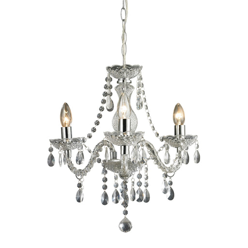 144-015 3 Light Clear Mini Chandelier Chrome, Clear