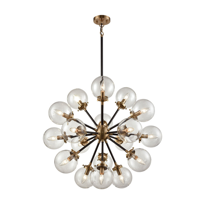ELK Lighting 14435/18 Boudreaux 18 Light Chandelier In Matte Black And Antique Gold Antique Gold, Matte Black Free Parcel Delivery