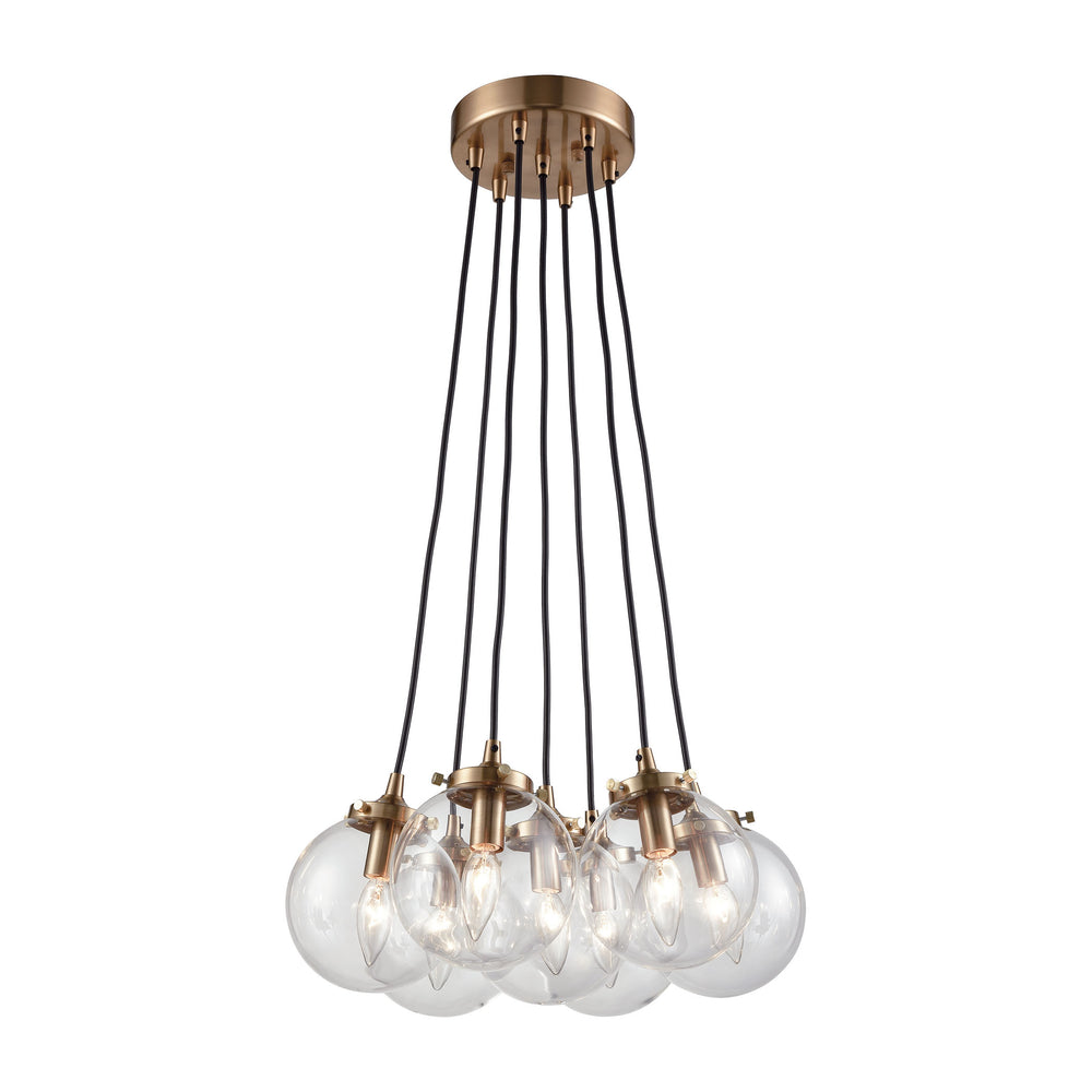 ELK Lighting 14465/7 Boudreaux 7 Light Chandelier In Satin Brass With Clear Glass Satin Black Free Parcel Delivery