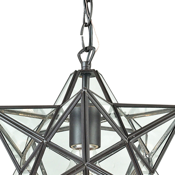 145-001 1Light Glass Pendant Lamp Clear, Oiled Bronze