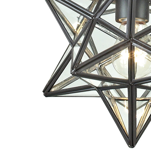 145-002 1Light Glass Pendant Lamp Clear, Oiled Bronze
