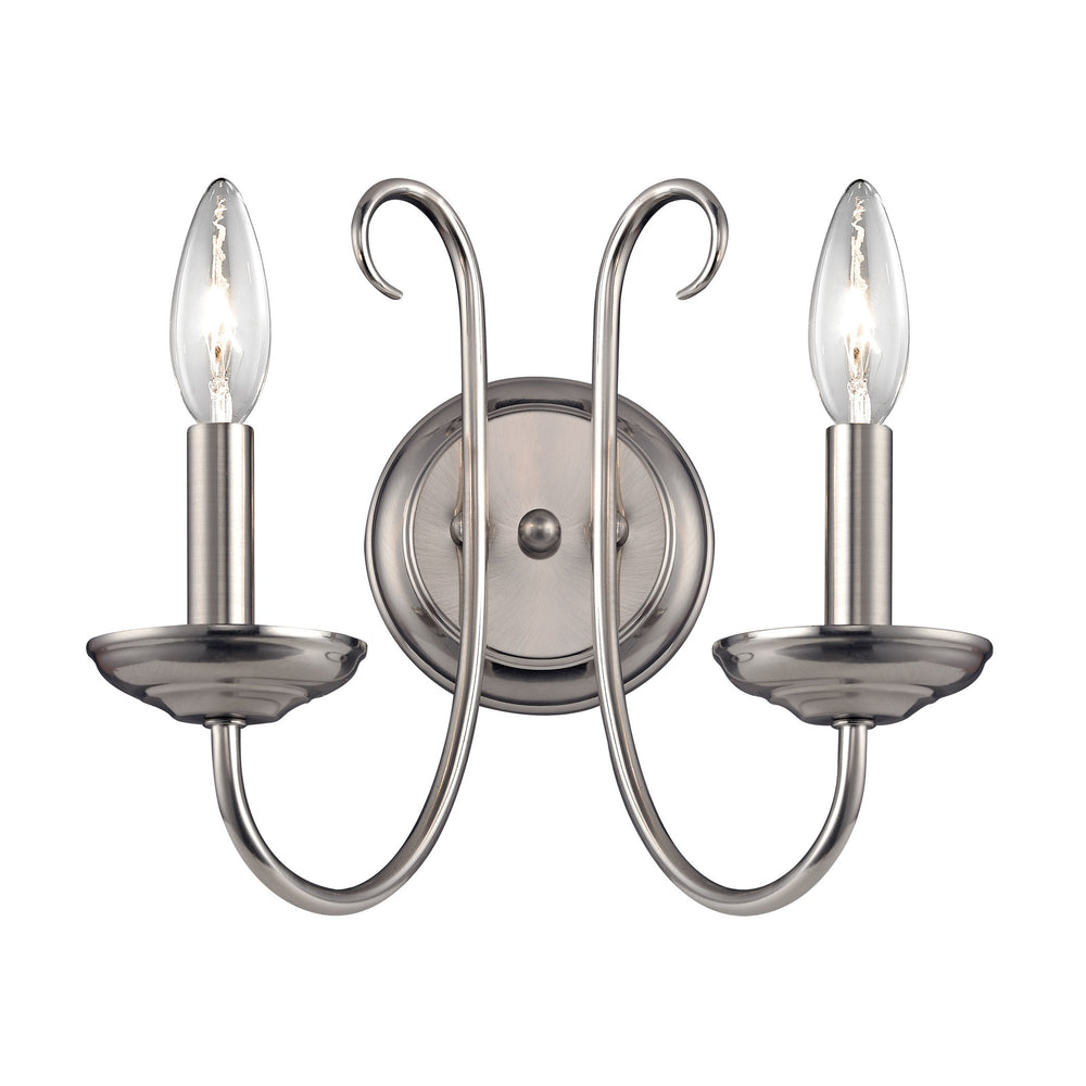Thomas Lighting 1502WS/20 Williamsport 2 Light Wall Sconce In Brushed Nickel Brushed Nickel