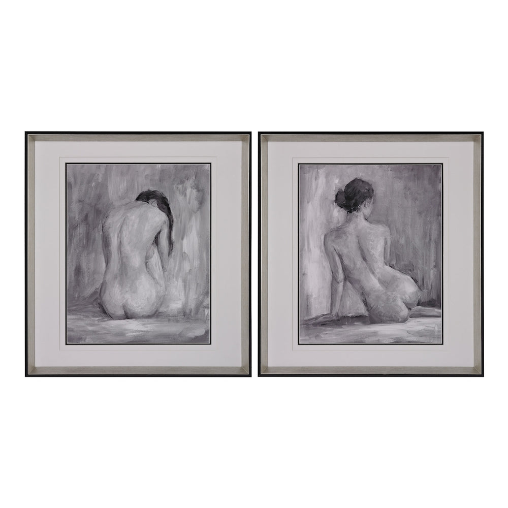 151-001/S2 Figure In Black And White I And II - Fine Art Print Under Glass Black, Silver