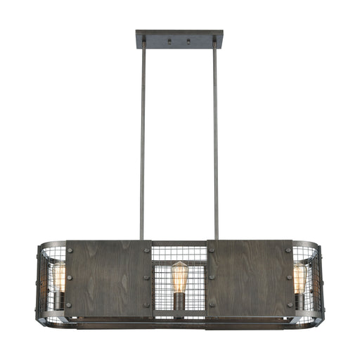 ELK Lighting 15323/6 Halstead 6 Light Island Light In Weathered Rust With Plywood And Metal Mesh Weathered Rust, Dark Gray Free Parcel Delivery