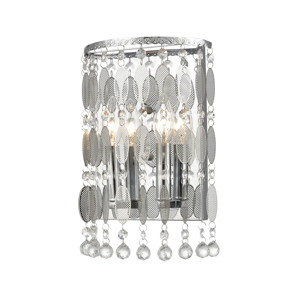 ELK Lighting 15380/2 Chamelon 2 Light Sconce In Polished Chrome With Perforated Stainless And Clear Crystal Polished Chrome Free Parcel Delivery