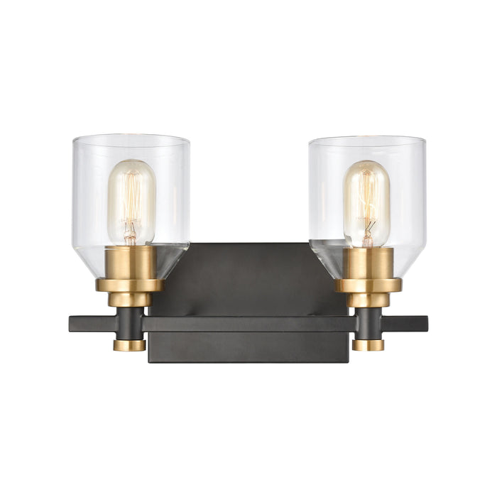 ELK Lighting 15401/2 Cambria 2 Light Vanity Light In Matte Black With Clear Glass Matte Black, Satin Brass Free Parcel Delivery