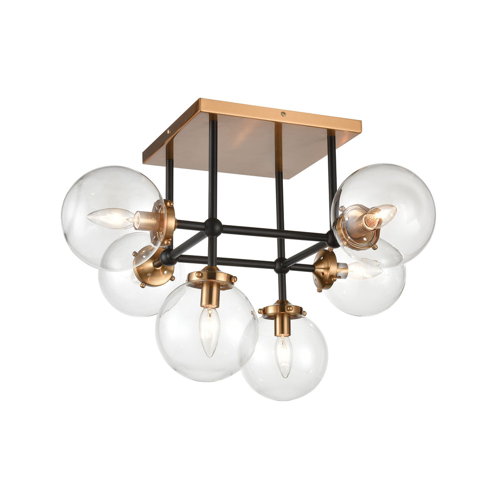 ELK Lighting 15436/6 Boudreaux 6 Light Semi-Flush Mount In Matte Black With Clear Glass Matte Black, Antique Gold Free Parcel Delivery