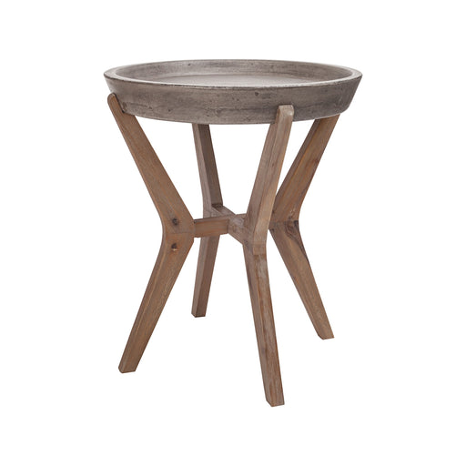 157-034 Tonga Side Table Silver Brushed Wood Tone, Waxed Concrete
