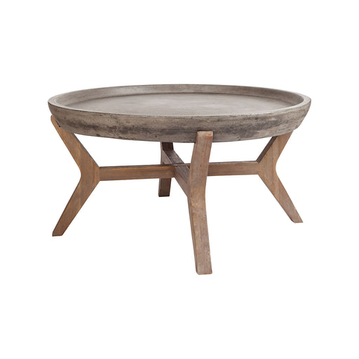 157-035 Tonga Coffee Table Silver Brushed Wood Tone, Waxed Concrete