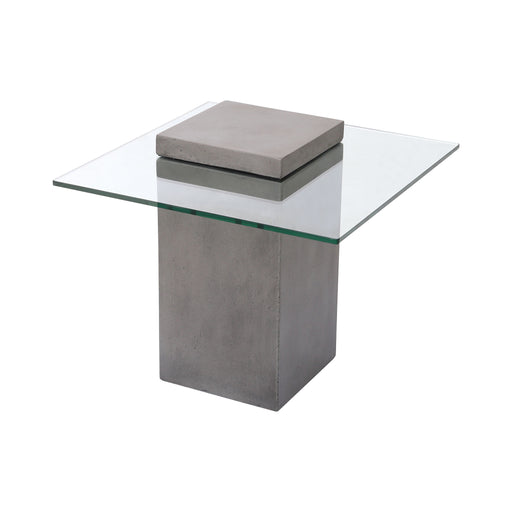 157-058 Onset Accent Table - Block Polished Concrete, Clear Glass