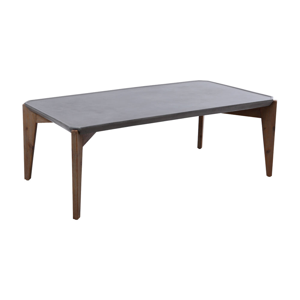 157-065 Cobble Hill Coffee Table Polished Concrete, Silver Brushed Acacia