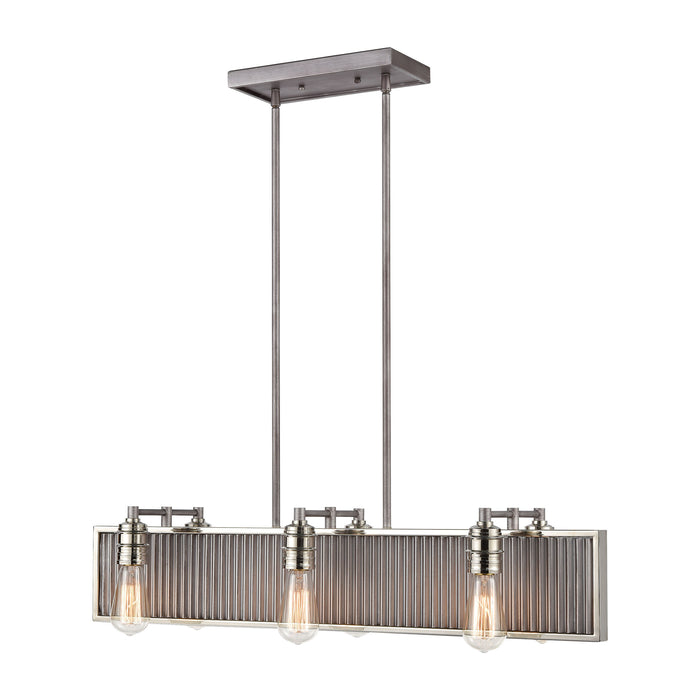 ELK Lighting 15928/6 Corrugated Steel 6 Light Island Light In Weathered Zinc Weathered Zinc, Polished Nickel Free Parcel Delivery