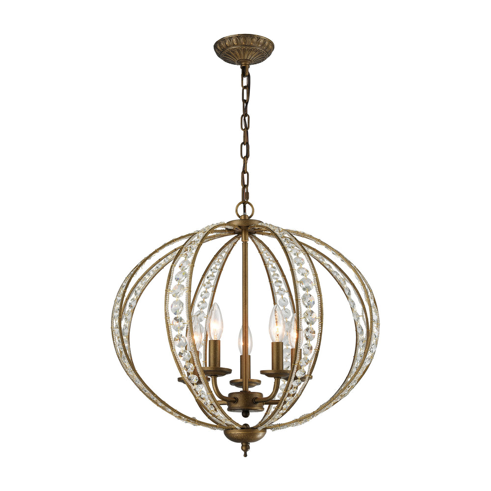 ELK Lighting 15965/5 Elizabethan 5 Light Chandelier In Dark Bronze Dark Bronze Free Parcel Delivery