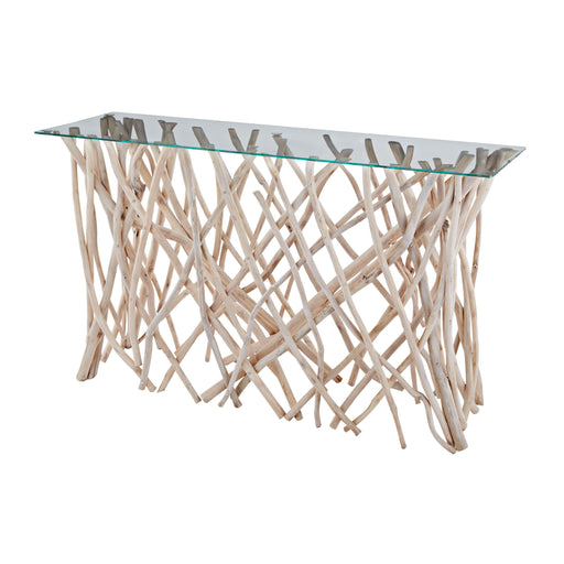 162-027 Teak Root Console With Glass Top - Natural Clear Glass, Natural Teak