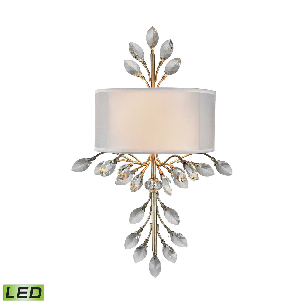 ELK Lighting 16280/2-LED Asbury 2 Light LED Wall Sconce In Aged Silver Aged Silver Free Parcel Delivery
