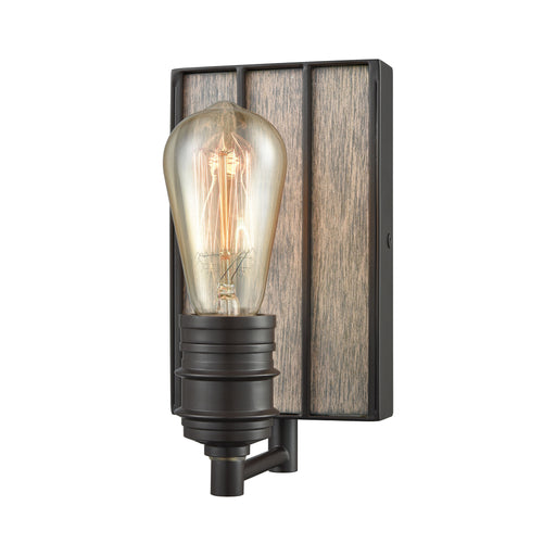 ELK Lighting 16440/1 Brookweiler 1 Light Vanity In Oil Rubbed Bronze With Washed Wood Backplate Oil Rubbed Bronze Free Parcel Delivery