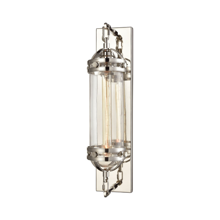 ELK Lighting 16470/1 Gramercy 1 Light Wall Sconce In Polished Nickel With Clear Glass Polished Nickel Free Parcel Delivery